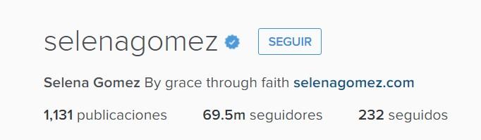 Cuantos seguidores tiene Selena Gomez en Instagram